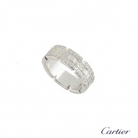 Cartier White Gold Diamond Tank Francaise Ring Size 49